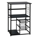 [JPN Warehouse] PVC Kitchen Shelf Range Hood Bracket with Removable Basket & Shelf, Size: 90.5 x 59.5 x 45.8cm(Black)