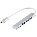 T-818 TF + 3 x USB 3.0 to USB-C / Type-C HUB Adapter (Silver)