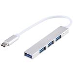 T-818 4 x USB 3.0 to USB-C / Type-C HUB Adapter (Silver)