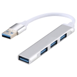 A-809 4 x USB 3.0 to USB 3.0 Aluminum Alloy HUB Adapter (Silver)