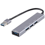 3019 4 x USB 3.0 to USB 3.0 Aluminum Alloy HUB Adapter with LED Indicator (Silver Grey)