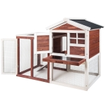 [US Warehouse] WF036002JAA Wood Bunny Hutch Chicken Coop Small Animal Cage, Size: 122×63.5x92cm