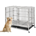 [US Warehouse] W20615733 Heavy Duty Stainless Steel Pet Dog Crate Cage, Size: 110x70x102cm