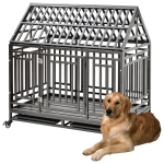 [US Warehouse] W20614082 Heavy Duty Stainless Steel Pet Dog Crate Cage with Roof , Size: 112x115x75cm