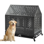 [US Warehouse] W20614081 Heavy Duty Stainless Steel Pet Dog Crate Cage with Roof , Size: 112x114x75cm(Black)