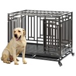 [US Warehouse] W20614080 Heavy Duty Stainless Steel Pet Dog Crate Cage with Four Wheels, Size: 103x76x87cm(Black)