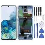 Original Dynamic AMOLED Material LCD Screen and Digitizer Full Assembly with Frame for Samsung Galaxy S20(Blue)