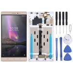 LCD Screen and Digitizer Full Assembly With Frame for Lenovo Phab2 / PB2-650 / PB2-650N / PB2-650M (Gold)