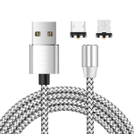 2 in 1 USB to 8 Pin + Micro USB Magnetic Metal Interface Nylon Braided Charging Cable, Length: 2m(Silvery)