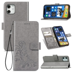 For iPhone 12 5.4 inch Four-leaf Clasp Embossed Buckle Mobile Phone Protection Leather Case with Lanyard & Card Slot & Wallet & Bracket Function(Grey)
