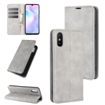 For Xiaomi Redmi 9A Retro-skin Business Magnetic Suction Leather Case with Holder & Card Slots & Wallet(Grey)