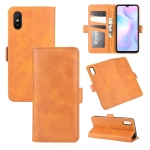 For Xiaomi Redmi 9A Dual-side Magnetic Buckle Horizontal Flip Leather Case with Holder & Card Slots & Wallet(Yellow)