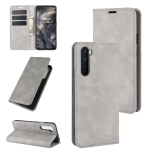 For OnePlus Nord Retro-skin Business Magnetic Suction Leather Case with Holder & Card Slots & Wallet(Grey)