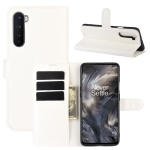 For OnePlus Nord Litchi Texture Horizontal Flip Protective Case with Holder & Card Slots & Wallet(White)