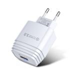 QC3.0 USB 18W Mobile Phone Tablet Universal Fast Charging Charger, EU Plug(White)