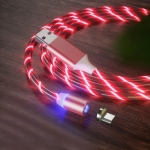 USB to Micro USB Magnetic Suction Colorful Streamer Mobile Phone Charging Cable, Length: 1m(Red Light)