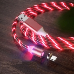 USB to Type-C / USB-C Magnetic Suction Colorful Streamer Mobile Phone Charging  Cable, Length: 1m(Red Light)
