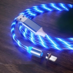 USB to 8 Pin Magnetic Suction Colorful Streamer Mobile Phone Charging  Cable, Length: 1m(Blue Light)