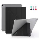 For iPad Pro 12.9 inch (2020) Multi-folding Horizontal Flip Shockproof Transparent PC + PU Leather Case with Sleep / Wake-up Function(Black)