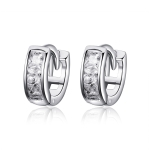 Sterling Silver Cubic Zircon Geometric Small Earrings Women Jewelry