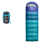 Naturehike NH15S009-D Adult Outdoor Tent Camping Summer Thin Single Portable Down Cotton Sleeping Bag, Style:With Lead(Peacock Blue)