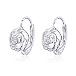 Rose Sterling Silver Platinum Plated Earrings Female Earrings