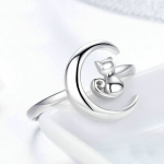 S925 Sterling Silver Ring Moon Cat Female Model Ring