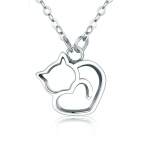 Cute Cat S925 Sterling Silver Lady Necklace With Zircon Inlaid Plain Silver Necklace