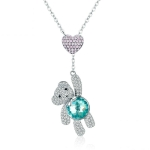 Cute Bear S925 Sterling Silver Rose Gold Plated Zircon Necklace