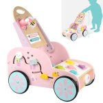 Children Multifunctional Walker Stroller Baby Wooden Puzzle Early Education Toys(Pink)