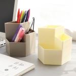 4 PCS Multifunctional Storage Box Hexagonal Pen Holder Plastic Desktop Student Office Supplies Random Colour