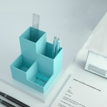 Four-dimensional Pen Holder Office Desk Classification Student Plastic Multifunctional Storage Tube(Blue)
