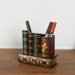 Retro Pen Holder Wooden Fake Book Multifunctional Pen Holder With Drawer