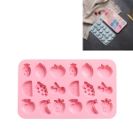 4 PCS Various Fruits Shape DIY Fondant Cake Baking Silicone Mold Handmade Soap Chocolate Candy Mold Ice Tray(Pink)