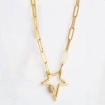 Women Fashion Star Pendant Copper Zircon Necklace(White Zirconium)