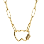 Love Heart Pendant Necklace With Micro Inlaid Colored Zircon(Double Heart)