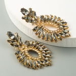 2 Pairs Oval Color Diamond Earrings Alloy Inlaid Rhinestone Earrings Exaggerated Womens Earrings(Gray)