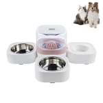 Pet Transparent Removable Washable Automatic Drinking Fountain with Stainless Steel Food Box, Specification: Double Bowls (Pink)