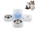 Pet Transparent Removable Washable Automatic Drinking Fountain with Stainless Steel Food Box, Specification: Double Bowls (Blue)