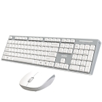 Ajazz A2080I Mute Button Desktop Notebook Office Wireless Frosted Keyboard and Mouse Set(White)