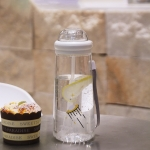 Creative Cartoon Space Cup Portable Handle Outdoor Handy Cup Straw Water Cup(White)