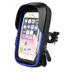 Mountain Bike Card Holder Touch Screen Mobile Phone Holder Motorcycle Electric Vehicle Waterproof Navigation Bracket Shade Mobile Phone Holder, Style:Handlebars(Blue)