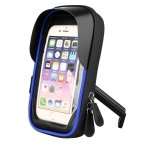 Mountain Bike Card Holder Touch Screen Mobile Phone Holder Motorcycle Electric Vehicle Waterproof Navigation Bracket Shade Mobile Phone Holder, Style:Rearview Mirrors(Blue)