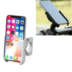 Bicycle Mobile Phone Holder Motorcycle Electric Car Navigation Mobile Phone Holder, Style:Handlebars(Silver)