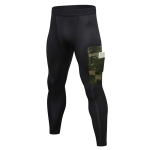 Camouflage Pocket Training Running Fast Dry High Elastic Sports Casual Tights (Color:Black Camouflage Green Size:S)