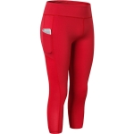 Stretch Tight Quick Drying Sweat Wicking Side Pocket Yoga Capris (Color:Red Size:S)