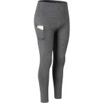 Super High Waist Slant Pocket Stretch Quick Drying Tights (Color:Flower Gray Size:L)