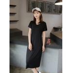 Short-sleeved V-neck Bottoming Dress (Color:Black Size:Free Size)