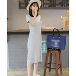 Short-sleeved V-neck Bottoming Dress (Color:Gray Size:Free Size)