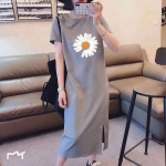 Loose Slim Over The Knee Dress (Color:Gray Size:Free Size)